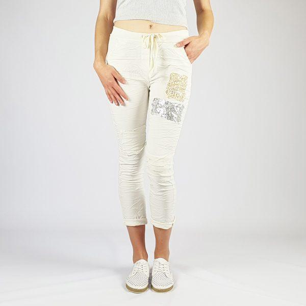 Cotton Elastine Sequin Patch Detail Pants White