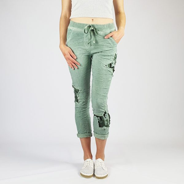 Cotton Elastine Star Camo Pants Green
