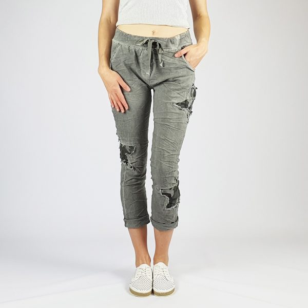 Cotton Elastine Star Camo Pants Grey