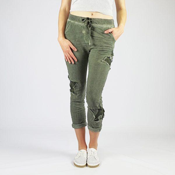 Cotton Elastine Star Camo Pants Khaki
