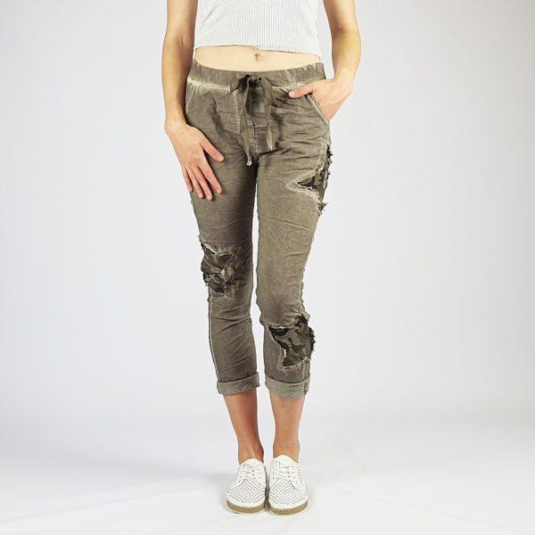 Cotton Elastine Star Camo Pants Stone