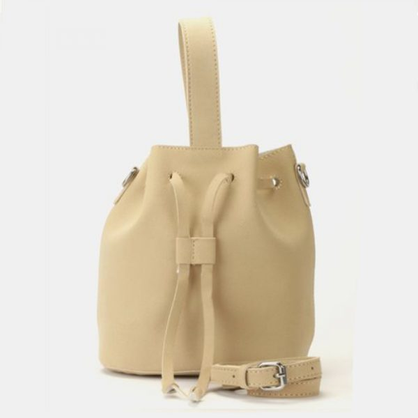 Leather look pouch handbag beige