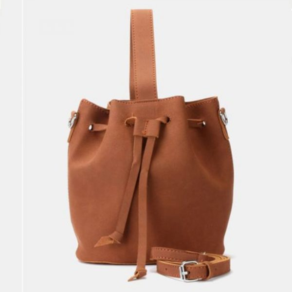 Leather look pouch handbag brown