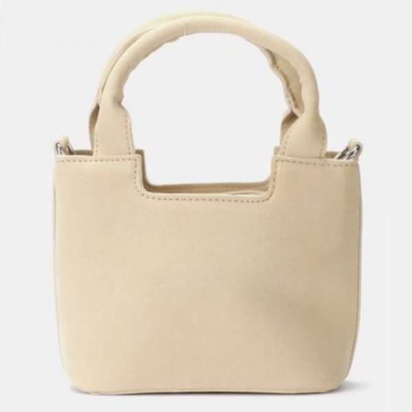 Leather look small sling handbag cream