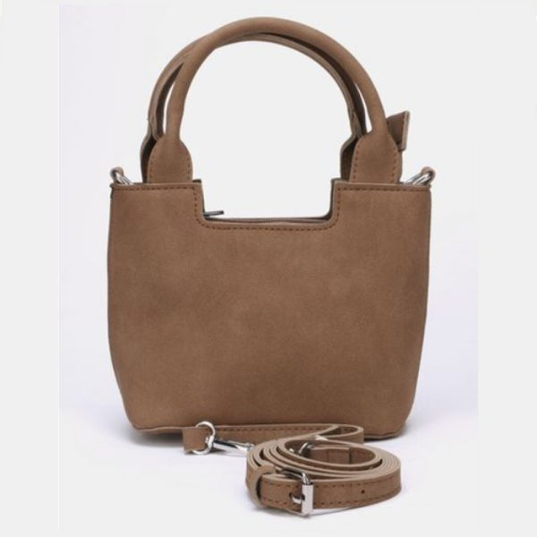 Leather look small sling handbag brown