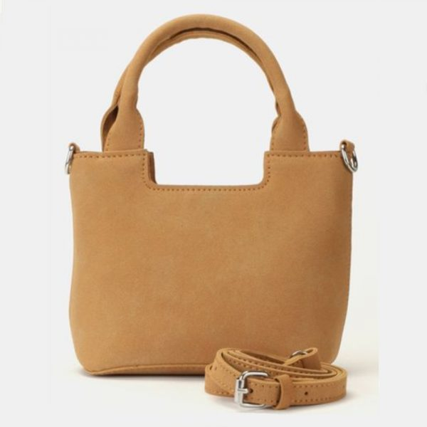 Leather look small sling handbag stone