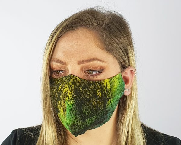4 Layer 2 Pack Reusable Face Mask Green/Yellow