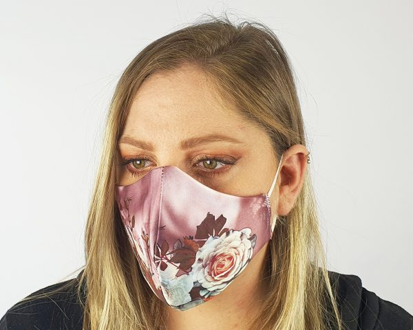 3 Layer 2 Pack Reusable Satin Mask Pink/Purple Floral