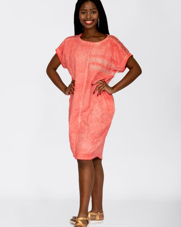 Sequin Detail Dress Coral