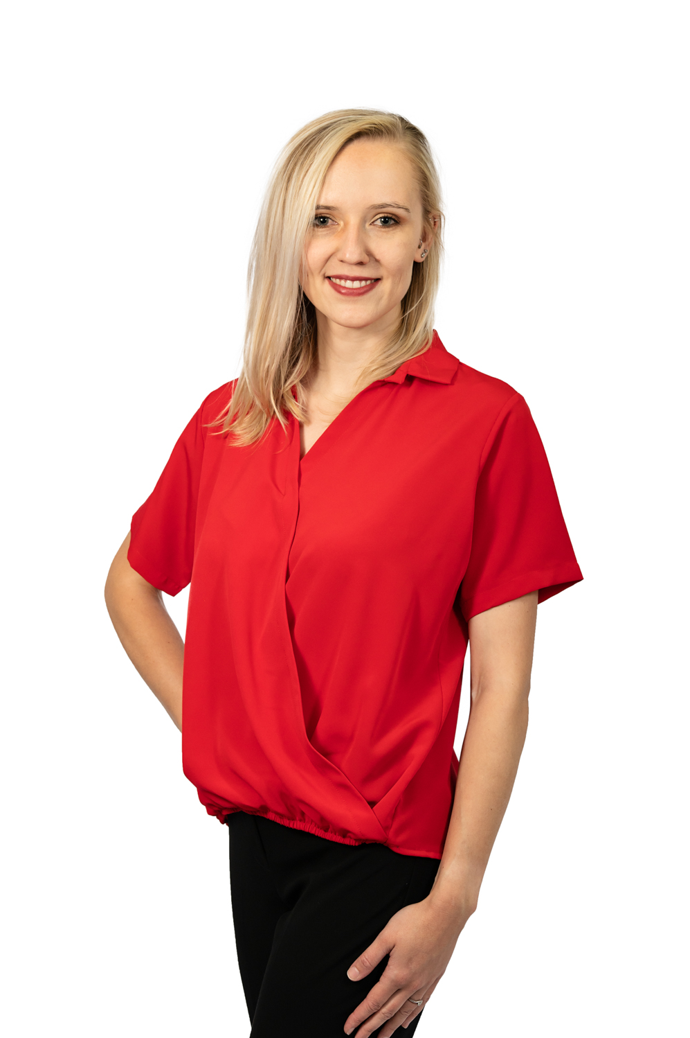 Short sleeve crossover top red front