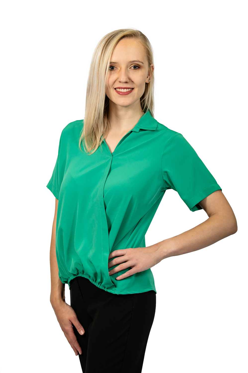 Short sleeve crossover top jade front