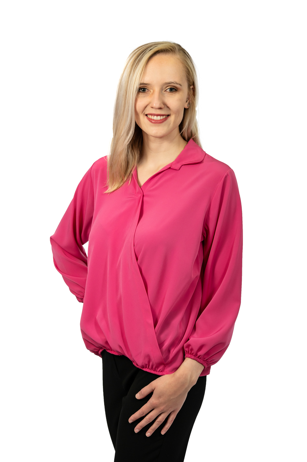 Long sleeve crossover top fuschia front