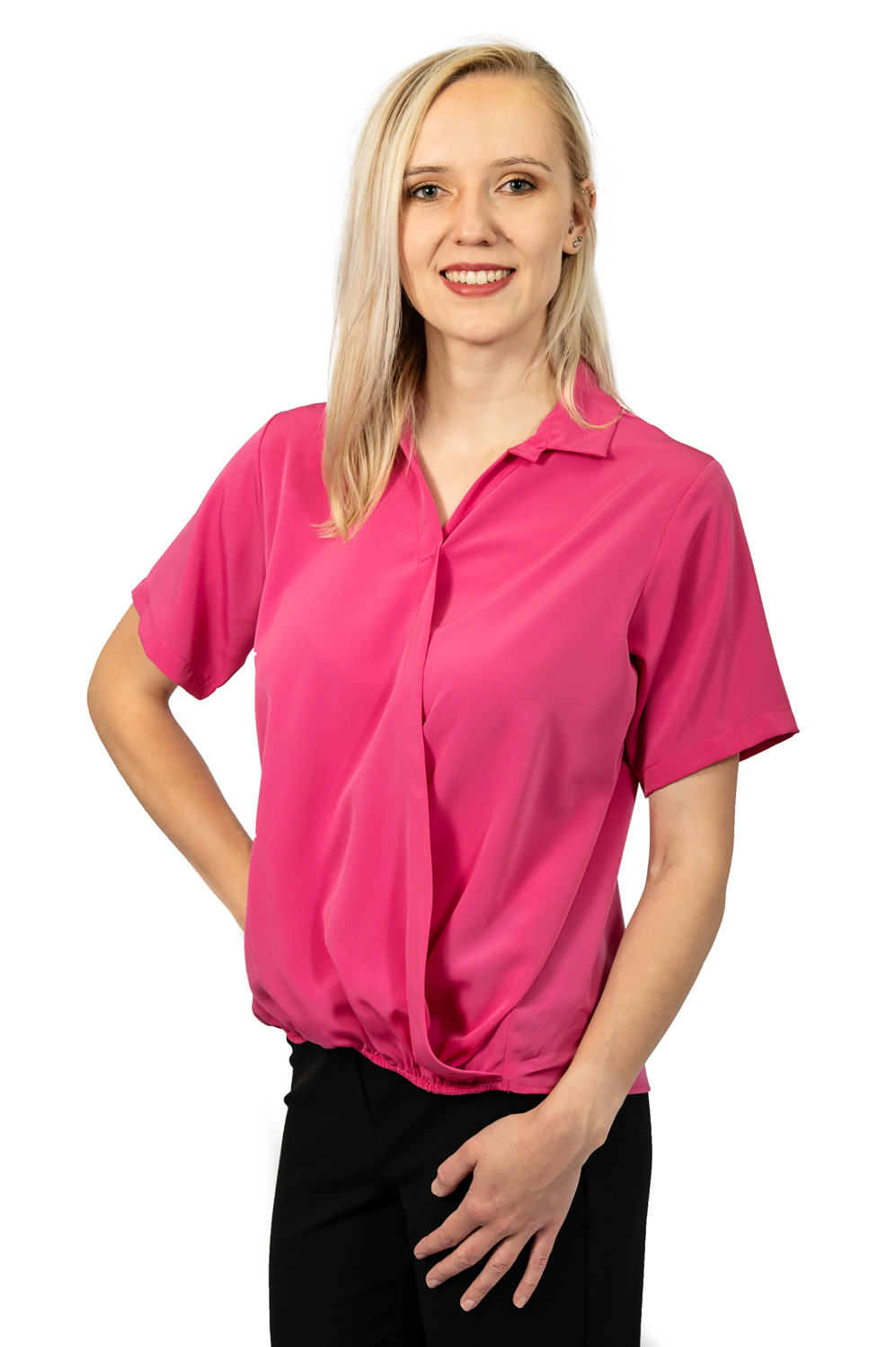 Short sleeve crossover top fuschia front