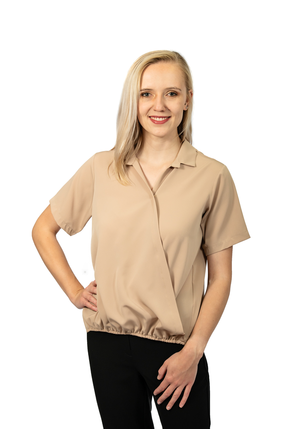 Short sleeve crossover top stone front