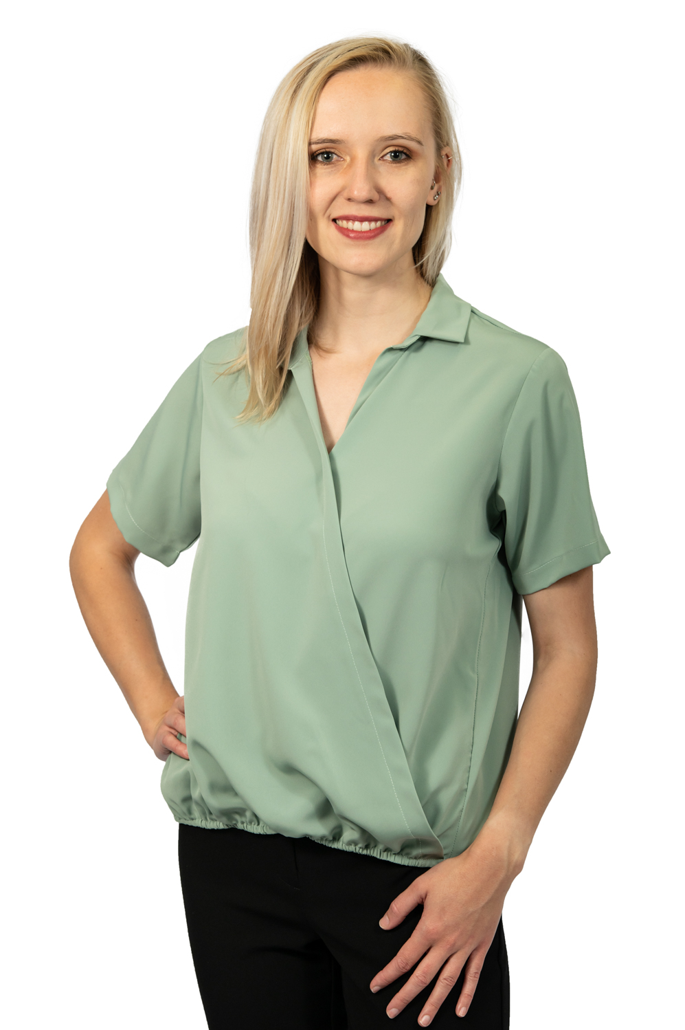 Short sleeve crossover top sage front