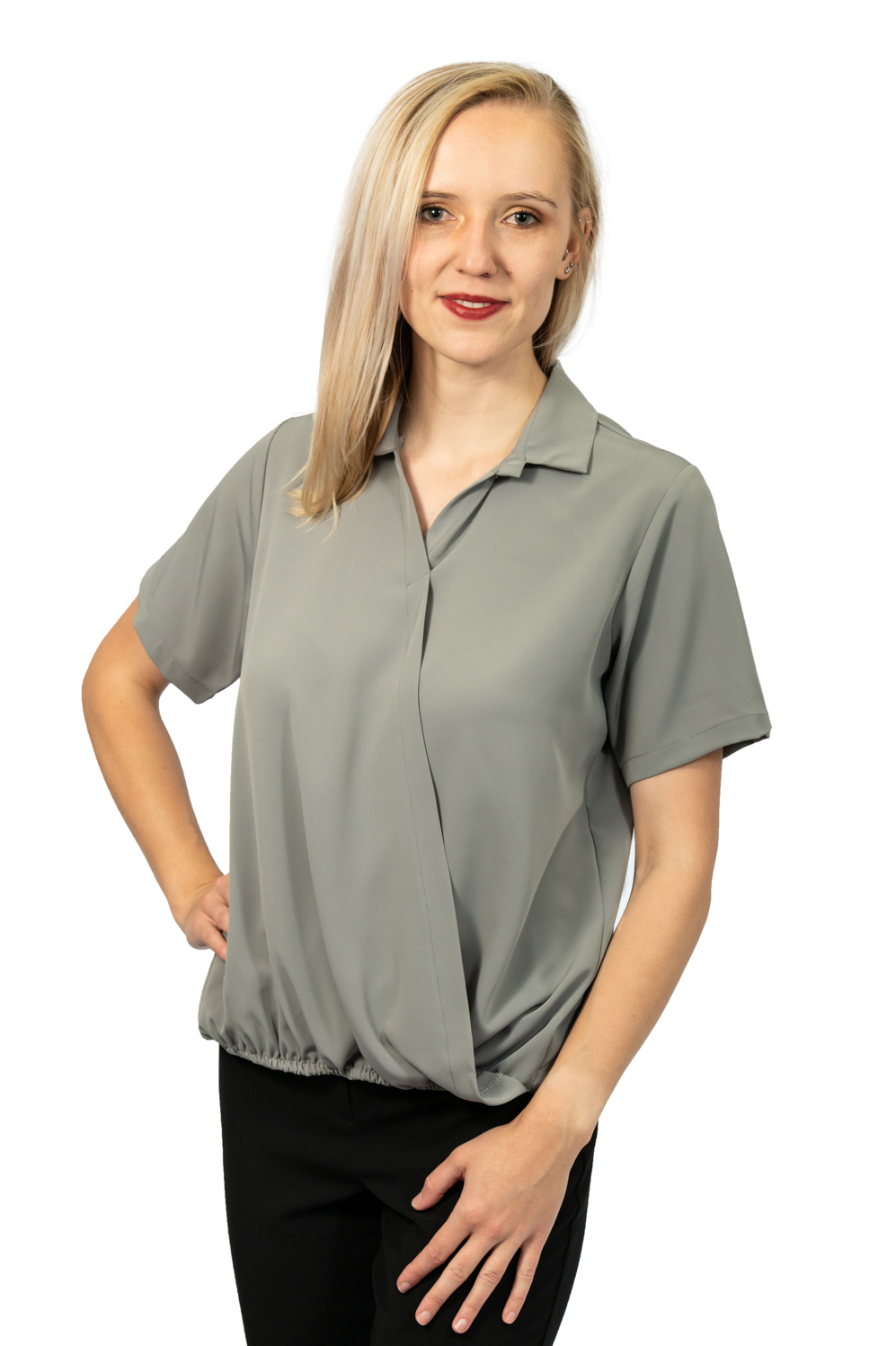 Short sleeve crossover top grey front