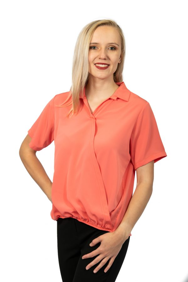 Short sleeve crossover top coral front