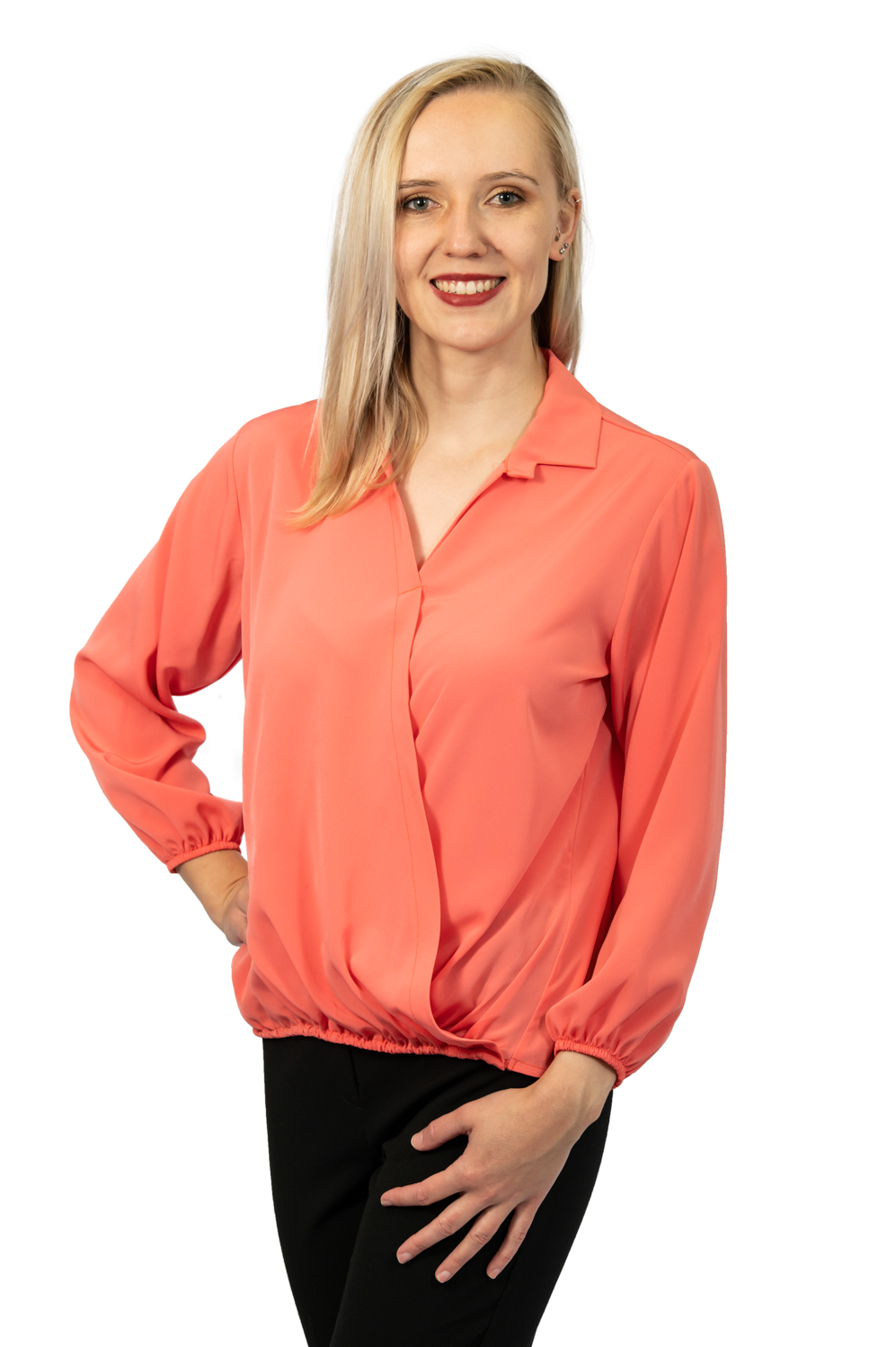 Long sleeve crossover top coral front