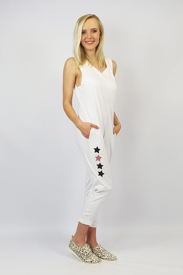 Harem Jumpsuit white side
