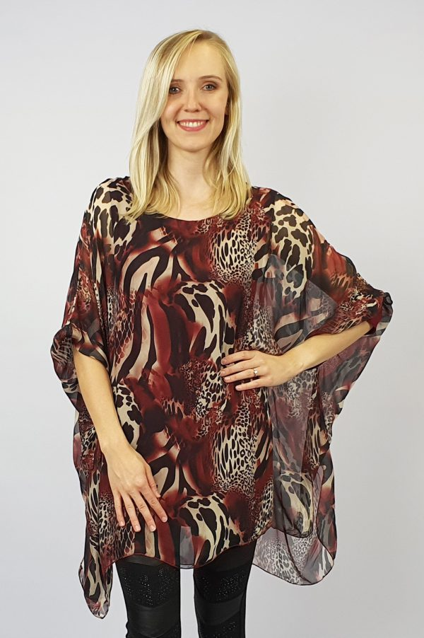 Animal Print Long Silk Top Red