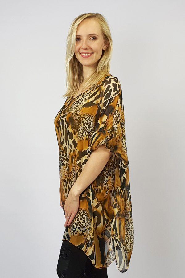 Animal Print Long Silk Top Yellow