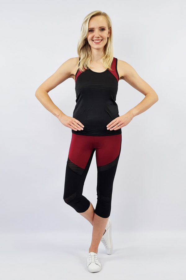 Active Wear Medium Length Set - Black/Maroon