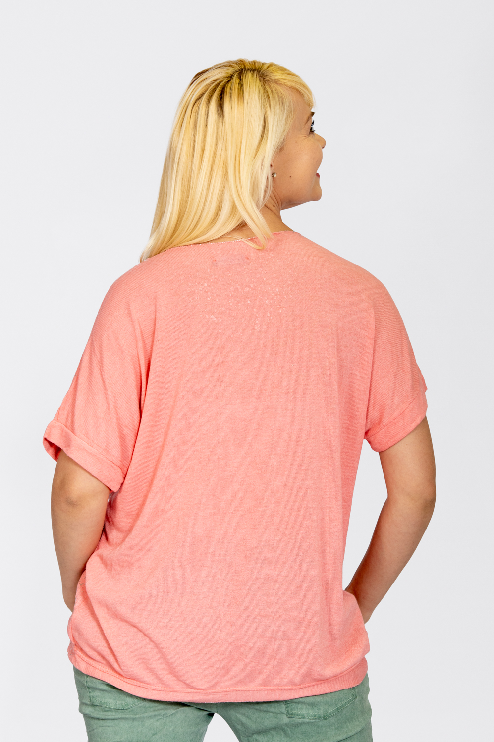 Jersey Knit Foil Dot Top Coral