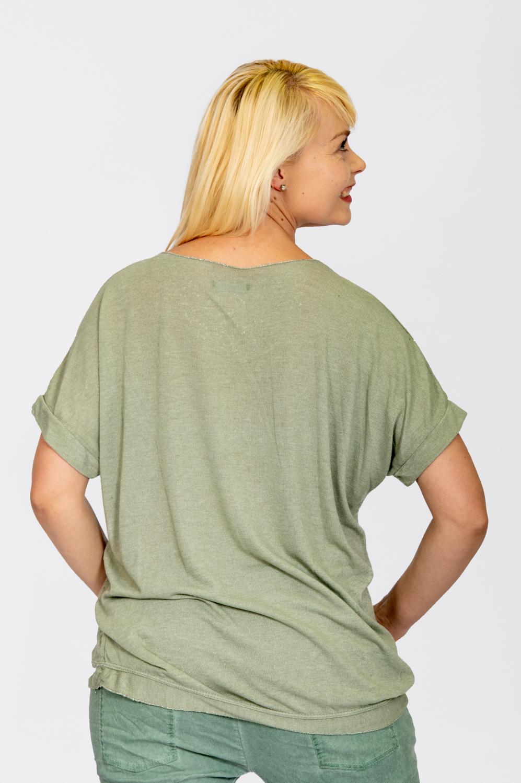 Jersey Knit Foil Dot Top Khaki