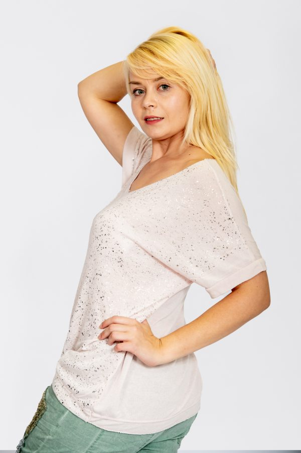 Jersey Knit Foil Dot Top Light Pink