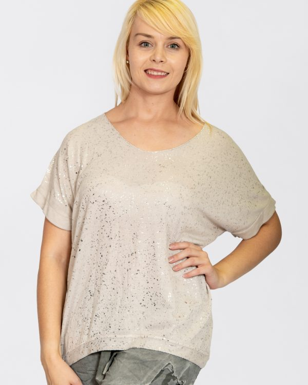 Jersey Knit Foil Dot Top Stone