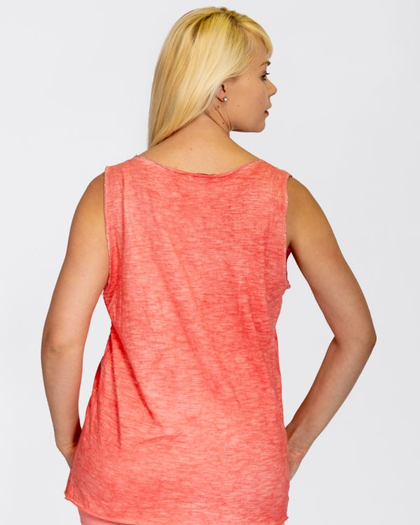 Linen vest with sequin hem coral