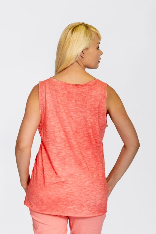 Linen vest with sequin hem coral