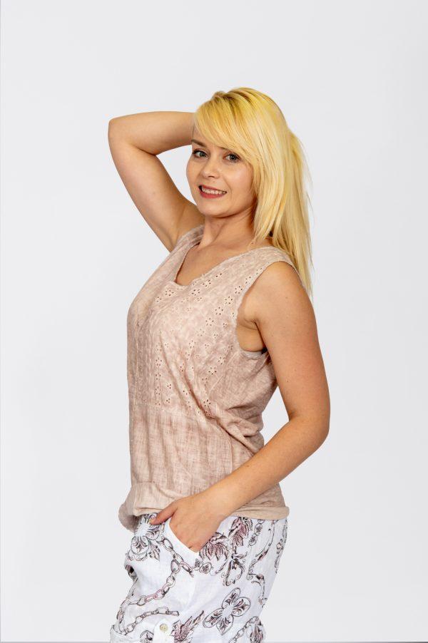 Linen Vest with Sequin Hem Dusty Pink