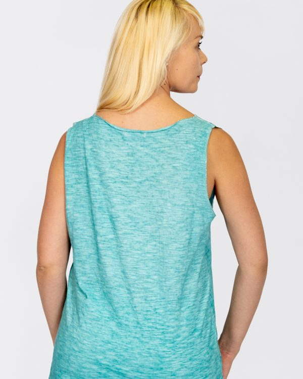 Linen Vest with Sequin Hem Turquoise