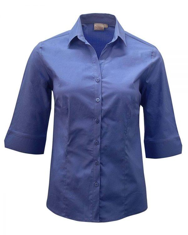 Ladies Abbey 3/4 Sleeve Blouse Blue
