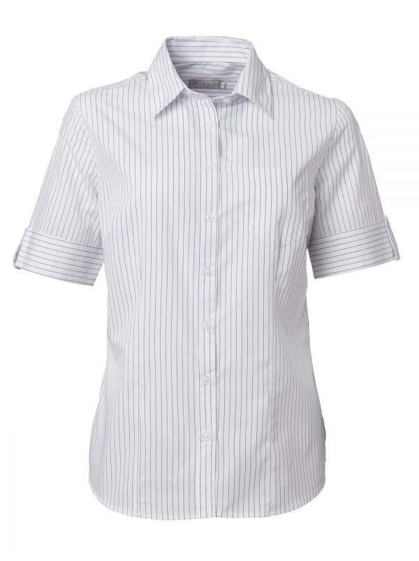 Ladies Angelique Stripe Short Sleeve Blouse Powder White
