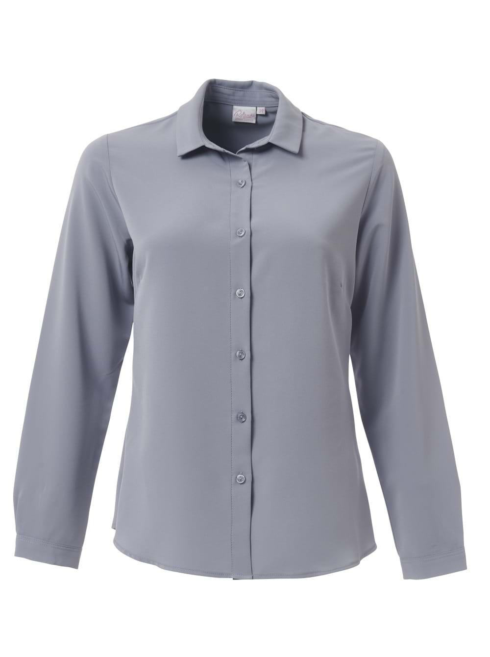 Ladies Georgia Long Sleeve Blouse Pebble Grey