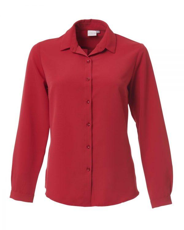Ladies Georgia Long Sleeve Blouse Scarlet Red