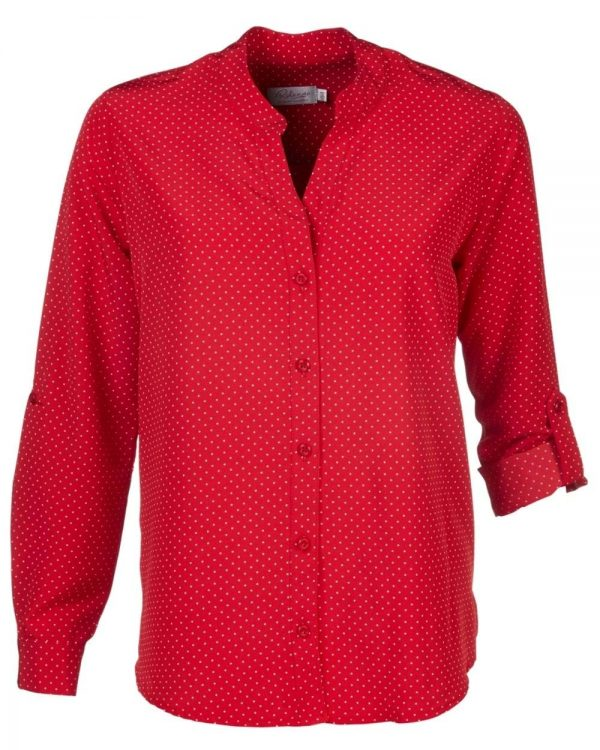 Ladies Milla Polka Dot Sleeve Blouse Red