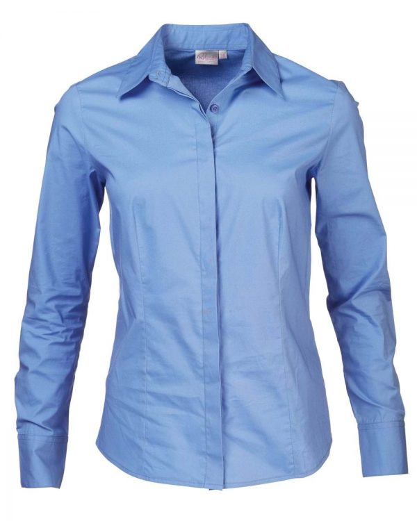 Ladies Savannah Long Sleeve Blouse Mid Blue