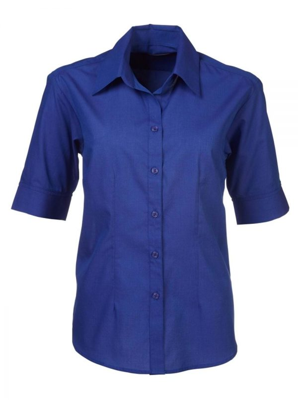 Ladies Megan End on End Short Sleeve Blouse French Blue