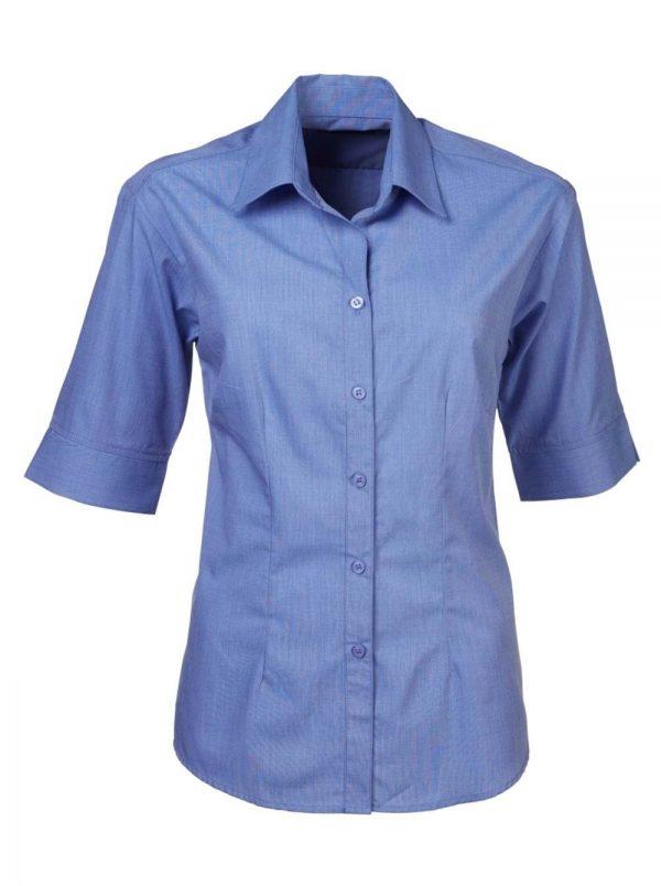 Ladies Megan End on End Short Sleeve Blouse Sky Blue