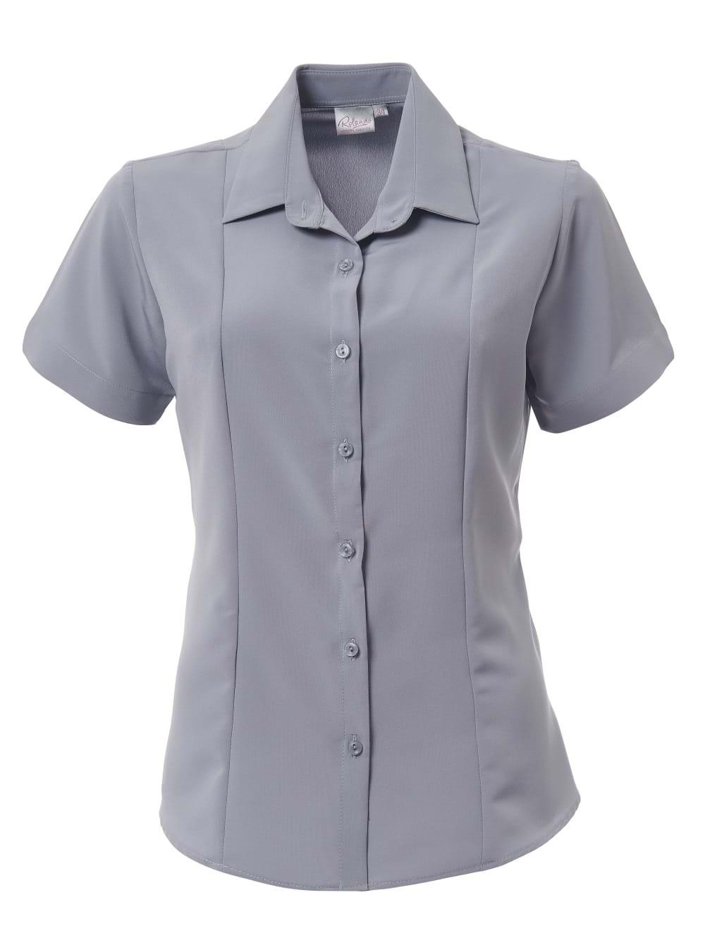 Ladies Zoe Short Sleeve Blouse Pebble Grey
