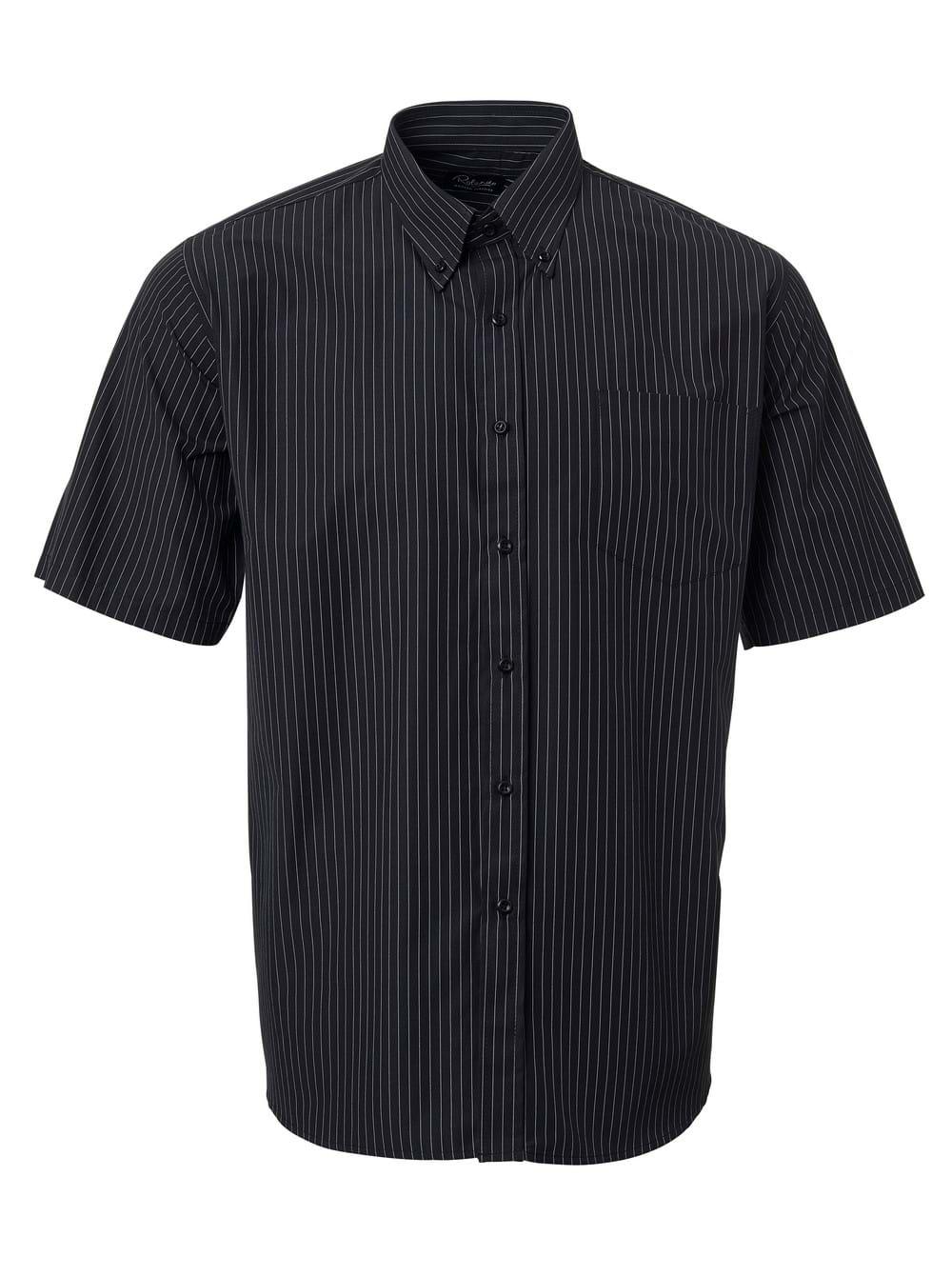 Mens Stripe Short Sleeve Shirt Black