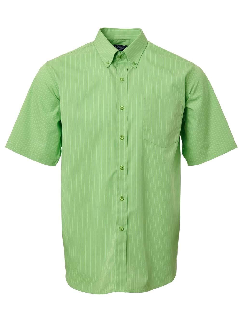 Mens Stripe Short Sleeve Shirt Lime