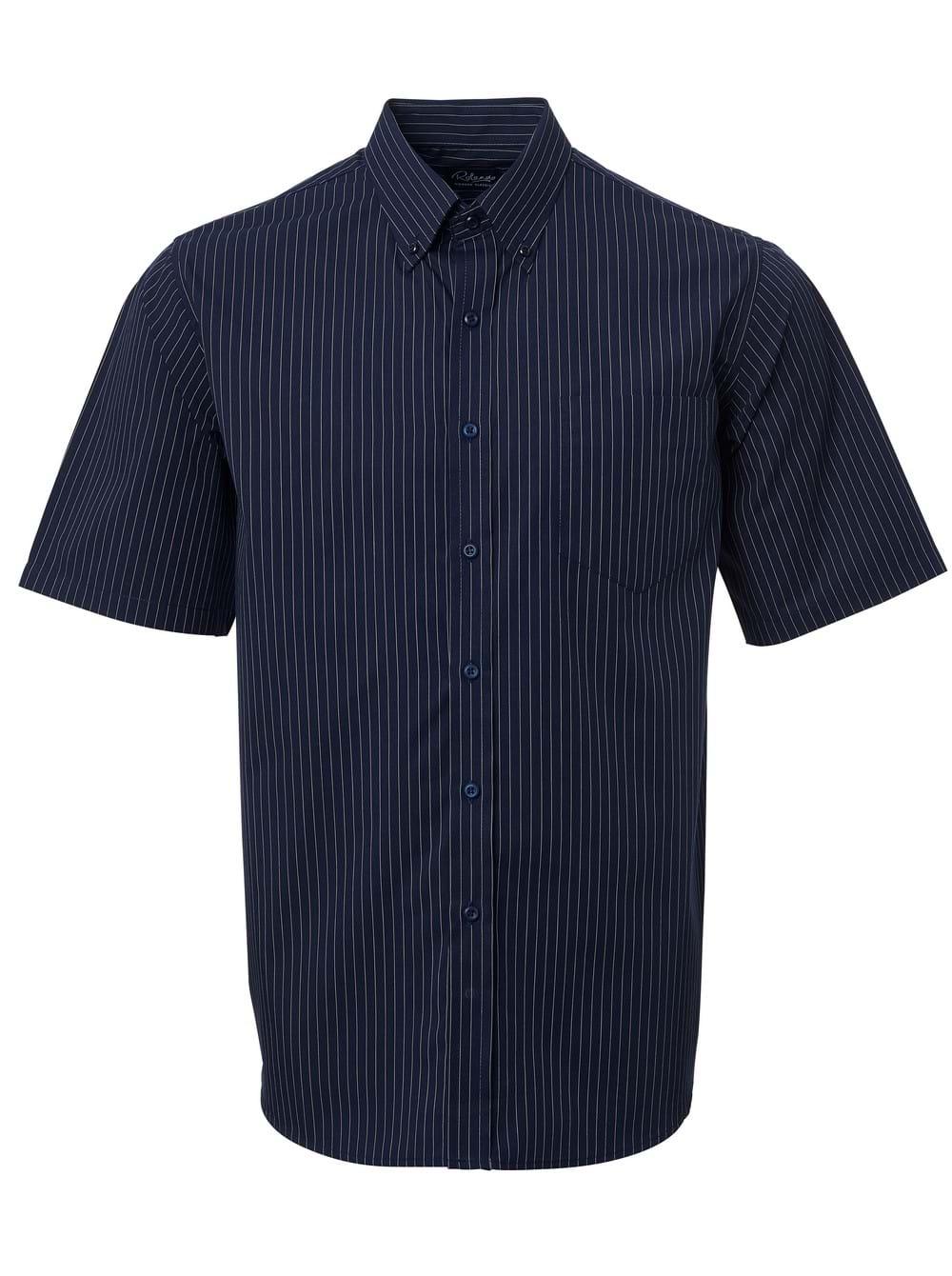 Mens Stripe Short Sleeve Shirt Navy