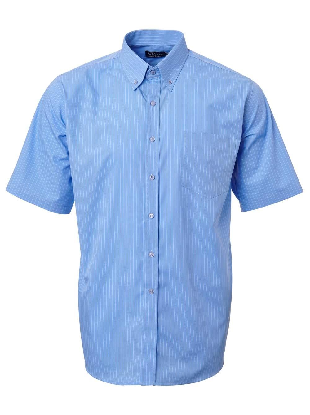 Mens Stripe Short Sleeve Shirt Powder Blue