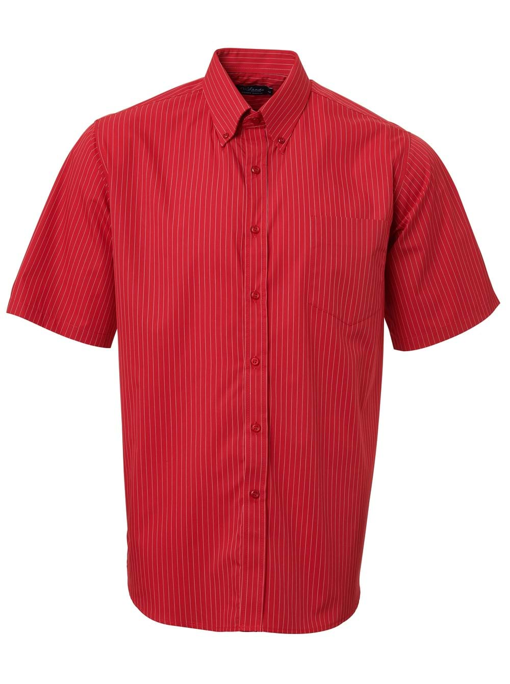 Mens Stripe Short Sleeve Shirt Red
