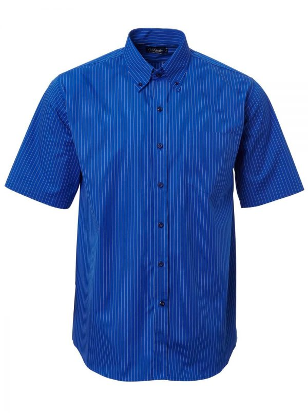 Mens Stripe Short Sleeve Shirt Royal