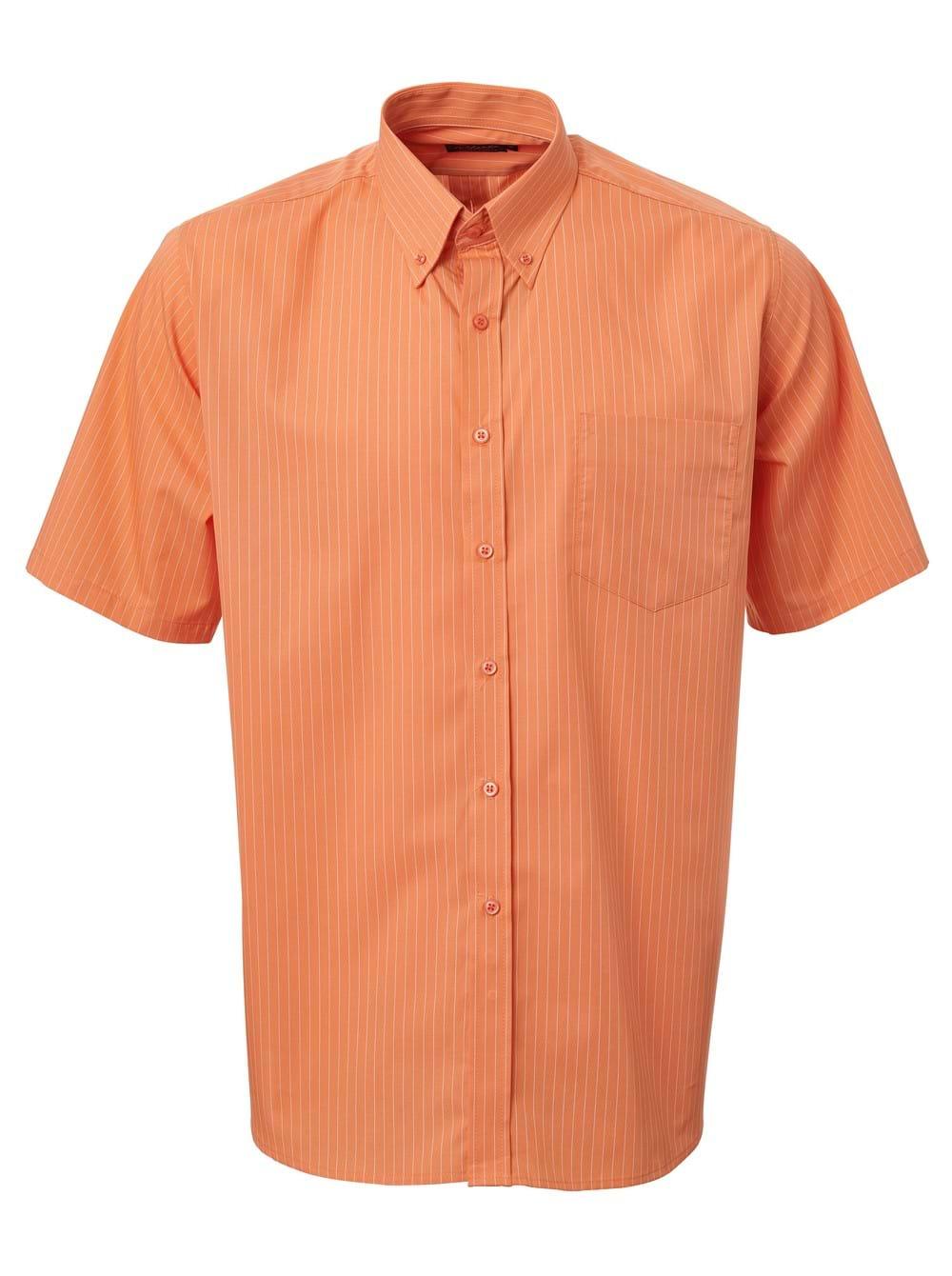 Mens Stripe Short Sleeve Shirt Tangerine